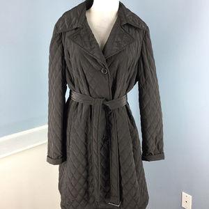 Talbots Long dark brown quilted Jacket Belt L XL